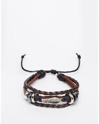 Мужской темно-коричневый кожаный браслет от Reclaimed Vintage