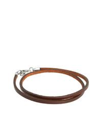 Мужской темно-коричневый кожаный браслет от Seven London