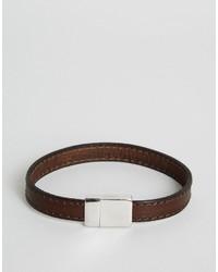 Мужской темно-коричневый кожаный браслет от Ted Baker