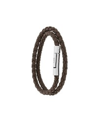 Мужской темно-коричневый кожаный плетеный браслет от Tod's