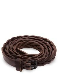 Темно-коричневый кожаный плетеный ремень