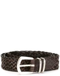 Мужской темно-коричневый кожаный плетеный ремень от Eleventy