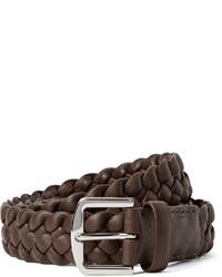Мужской темно-коричневый кожаный плетеный ремень от Loro Piana