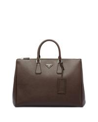 Темно-коричневый кожаный портфель от Prada
