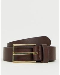 Мужской темно-коричневый кожаный ремень от ASOS DESIGN