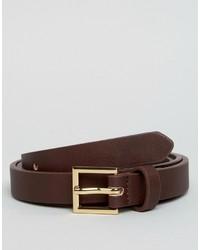 Мужской темно-коричневый кожаный ремень от Asos