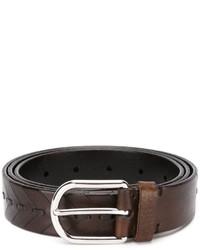 Мужской темно-коричневый кожаный ремень от Brunello Cucinelli