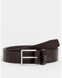 Мужской темно-коричневый кожаный ремень от Calvin Klein