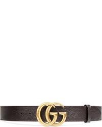 Мужской темно-коричневый кожаный ремень от Gucci