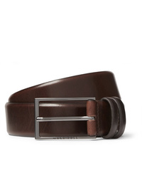 Мужской темно-коричневый кожаный ремень от Hugo Boss