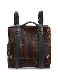 Темно-коричневый кожаный рюкзак с леопардовым принтом