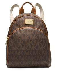 Темно-коричневый кожаный рюкзак с принтом