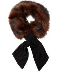 Темно-коричневый меховой шарф