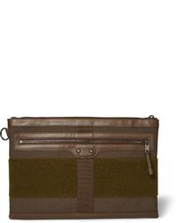Темно-коричневый мужской клатч из плотной ткани