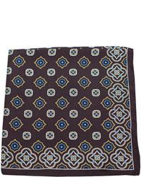 Темно-коричневый нагрудный платок с принтом