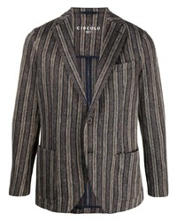 Мужской темно-коричневый пиджак в вертикальную полоску от Circolo 1901