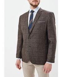 Мужской темно-коричневый пиджак в шотландскую клетку от Absolutex