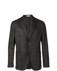 Мужской темно-коричневый пиджак в шотландскую клетку от Boglioli