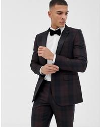 Мужской темно-коричневый пиджак в шотландскую клетку от Burton Menswear