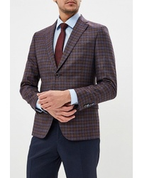 Мужской темно-коричневый пиджак в шотландскую клетку от Laconi