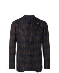 Мужской темно-коричневый пиджак в шотландскую клетку от Tagliatore