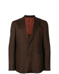 """Темно-коричневый пиджак с узором """"гусиные лапки"""""""