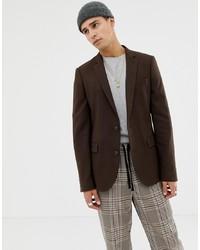 Мужской темно-коричневый пиджак от ASOS DESIGN