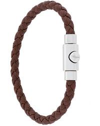 Мужской темно-коричневый плетеный браслет от Salvatore Ferragamo