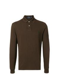 Темно-коричневый свитер с воротником поло