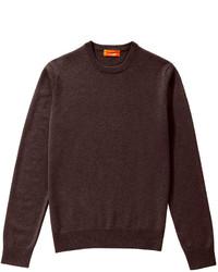 Темно-коричневый свитер с круглым вырезом