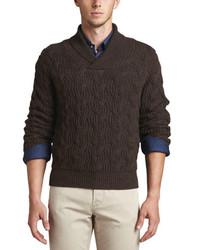 Темно-коричневый свитер с отложным воротником