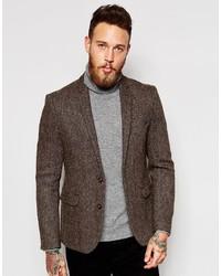 Темно-коричневый твидовый пиджак