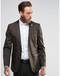 Темно-коричневый хлопковый пиджак