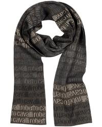 Темно-коричневый шарф с принтом