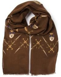 Мужской темно-коричневый шарф с принтом от Dolce & Gabbana