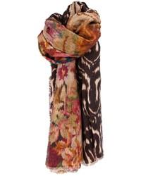 Мужской темно-коричневый шарф с принтом от Pierre Louis Mascia