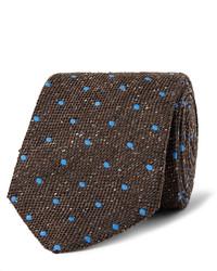 Мужской темно-коричневый шелковый галстук в горошек