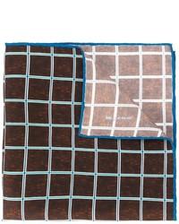 Темно-коричневый шелковый нагрудный платок в клетку от Kiton