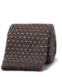 Мужской темно-коричневый шерстяной вязаный галстук от Canali
