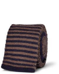Темно-коричневый шерстяной галстук в горизонтальную полоску