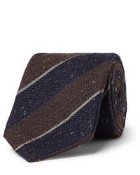 Мужской темно-коричневый шерстяной галстук в горизонтальную полоску от Canali