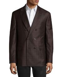 Темно-коричневый шерстяной двубортный пиджак в клетку