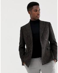 Мужской темно-коричневый шерстяной двубортный пиджак от ASOS DESIGN