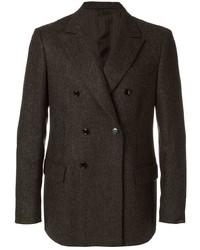Мужской темно-коричневый шерстяной двубортный пиджак от Mp Massimo Piombo