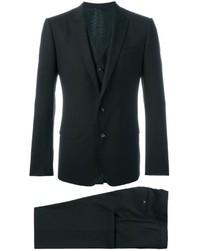 Темно-коричневый шерстяной костюм-тройка