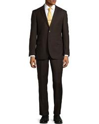 Темно-коричневый шерстяной костюм