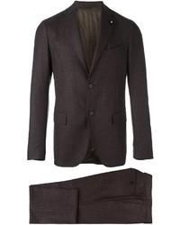 Мужской темно-коричневый шерстяной костюм от Lardini
