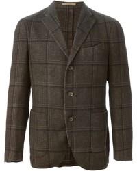 Темно-коричневый шерстяной пиджак в клетку