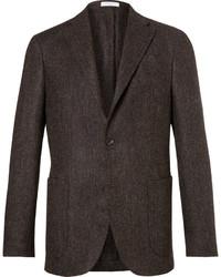 """Темно-коричневый шерстяной пиджак с узором """"в ёлочку"""""""