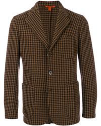 """Мужской темно-коричневый шерстяной пиджак с узором """"гусиные лапки"""" от Barena"""